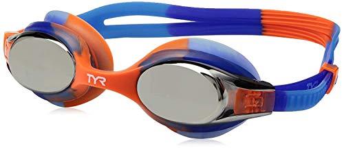(TYR Kids Swimple Tie Dye Googles, Clear/Blue/Orange, One Size)
