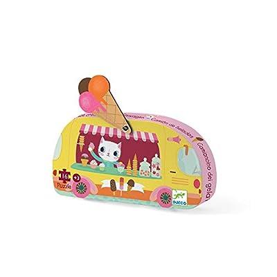 DJECO Ice Cream Truck Mini Jig Saw Puzzle, Yellow: Toys & Games