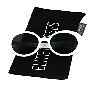 Clout Goggles Oval Hypebeast Eyewear Supreme Glasses Cool Sunglasses (Thin Frame White, 51)