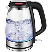 Aicok Glass Electric Kettle, 1.7L Eco Water Kettle with Auto Shut-Off & Boil-Dry Protection, BPA-Free Cordless Hot Water Boiler, Quiet Fast Boil, 3000W
