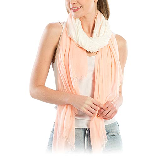 Me Plus Women Fashion Lightweight Soft Spring Summer Long Scarf Shawl Wraps (Tie-Dye Two Tone - Pink)