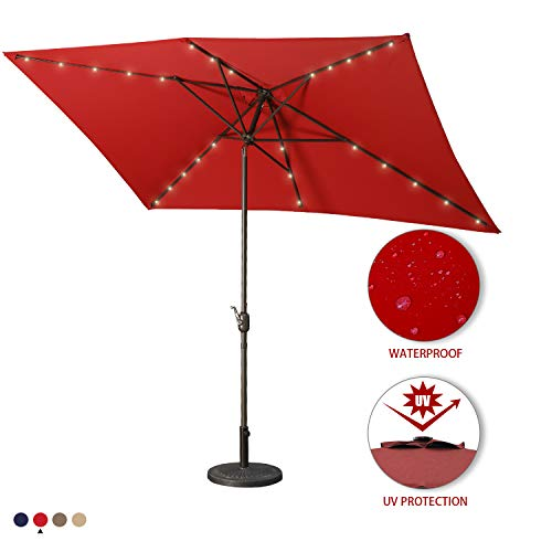 Aok Garden 10 Ft LED Lighted Patio Outdoor Umbrella Solar Power Market Table Fade-Resistant Umbrella with Push Button Tilt & Crank and 8 Sturdy Ribs,Red