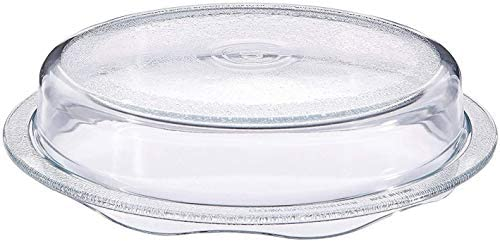 Cuchina Safe 2-in-1 Cover 'n Cook Vented Glass Microwave Plate Cover and Baking Dish; Easy to Grip for Baking and Serving