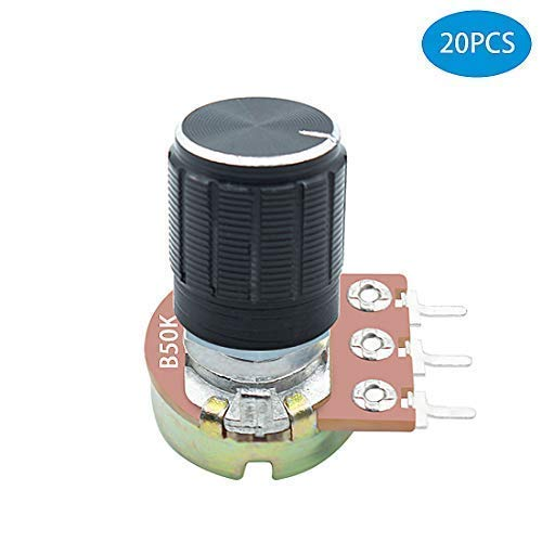 B50K Rotary Taper Potentiometer with Black Knob(WH148) Kit for Audio ()