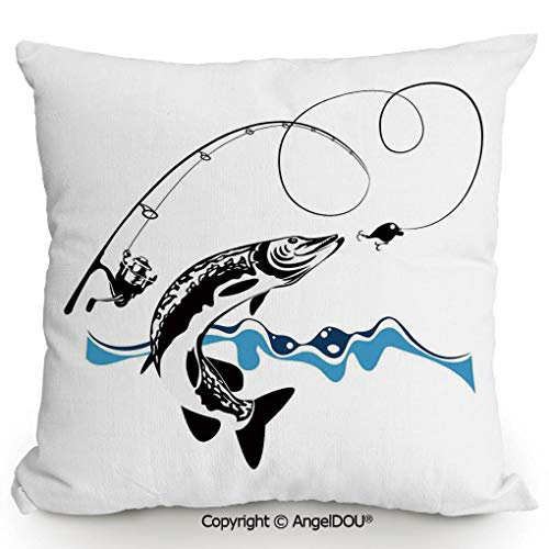 AngelDOU Square Cotton Linen Pillow Cushion,Big Pike Fish Catching Wobblers Reel Trap in River Raptorial Predator Print,Living Room Sofa car Bed Back Cushion Pillowcase.23.6x23.6 inches