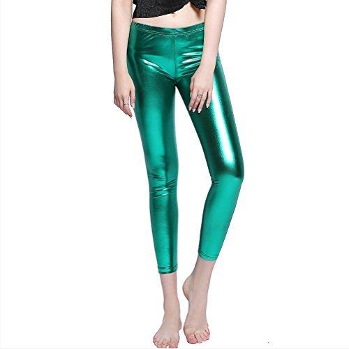Metallic Spandex Tunic - Dolloly Stretch Skinny Shiny Spandex Leggings Pants Metallic Wet Look Leggings Shiny Green 3XL
