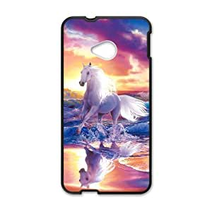 HTC One M7 Case,Running White Horse With Splashed Water Colorful Sunset High Definition Wonderful Design Cover With Hign Quality Rubber Plastic Protection Case