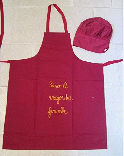 Grembiule Uomo cm 75x90 + Cappello Cuoco Kit Barbecue 2 pezzi Bordeaux. Con  possibilità di 309256c3ce84