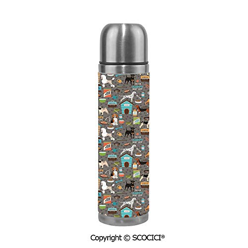 Travel Mug Thermos Food Grade Water Bottle Paw Print Background With Pet Canine Accessories Balls Carry Bags Leash Food Bowl Insulation Cup Leak Proof No Spill Lid Thermoses 500 ML