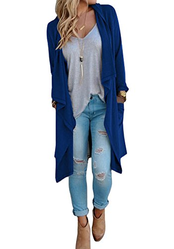 Poulax Women's Solid Lightweight Knitted Open Front Long Trench Coat Cardigan (XL=US12-14, New Blue)