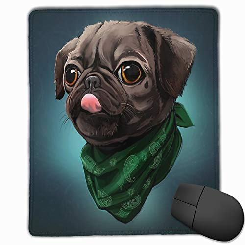 Headband Black Dog Doggie Mouse Pad Non-Slip Rubber Gaming Mousepad Mouse Pads for Computers Laptop Work Office Home 7.1x8.7Inch