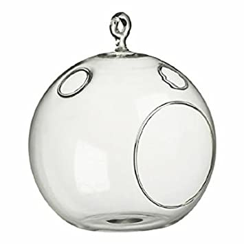 WGV Clear Round Hanging Votive Candle Holder/Glass Orb Terrarium Vase,  7 Inch
