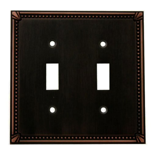 Cosmas 44031-ORB Oil Rubbed Bronze Double Toggle Switch Plate Switchplate Wall Cover (Double Decorative Switchplate)