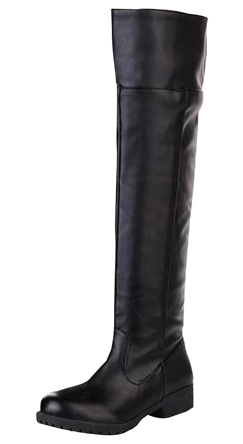 Ace Cos-play Knee-high Boot Riding Boots (mens, black)