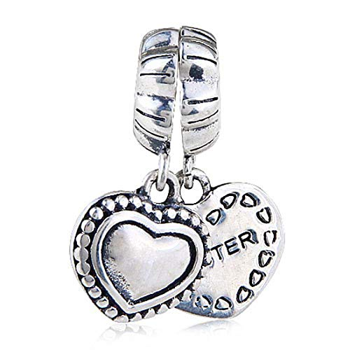 Sister Charm 925 Sterling silver Heart Charm Love Charm Dangle Charm for Pandora Bracelet (Pandora Sister Charm)