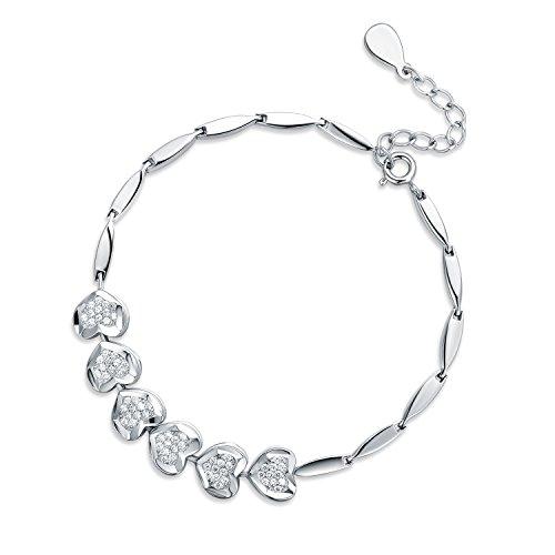 JIANGXIN Adjustable 925 Sterling Silver Bracelet for Women Fine Jewelry with Extender 16+3cm by JIANGXIN