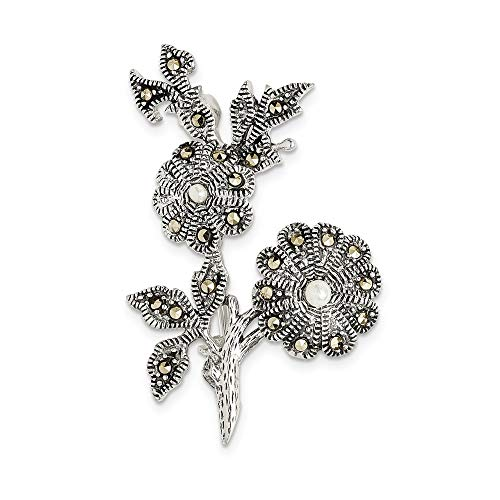 Marcasite Pin And Pearl (925 Sterling Silver Antiqued Marcasite & Acrylic Pearl Flowers Pin)