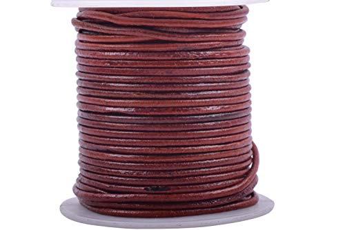 KONMAY 1Roll 25 Yards 2.0mm Distressed Brown Color Soft Round Real Jewelry Leather Cord ()