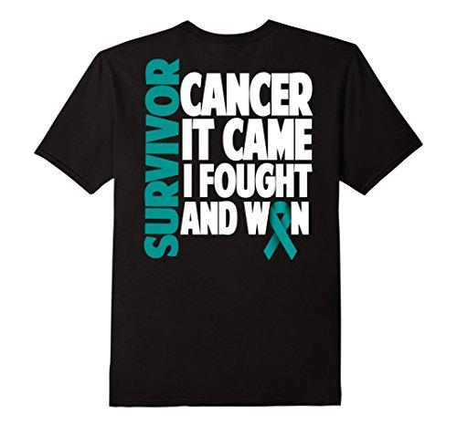 Men's Ovarian Cancer Survivor Shirt Gift Teal Ribbon Fighter 3XL Black