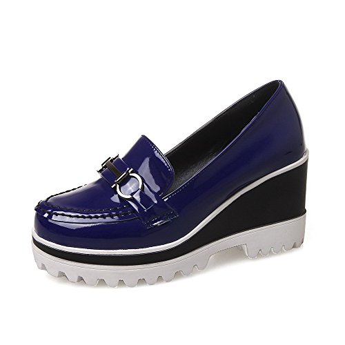 Odomolor Women's Solid High Heels Pull On Round Closed Toe Pumps-Shoes Blue JXnzl