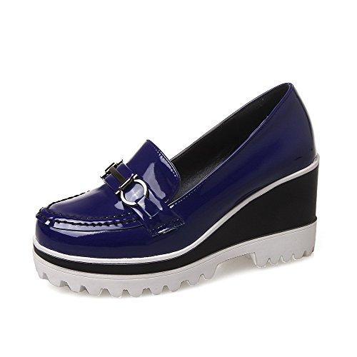 Amoonyfashion Damesschoen Op Lakleder Ronde Gesloten Neus Hoge Hakken Stevige Pumps-schoenen Blauw