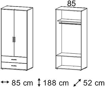Rasant dimensioni: LAP 85x188x52 cm Armadio ad ante a battente con 2 cassetti in laminato di quercia Sonoma AVANTI TRENDSTORE
