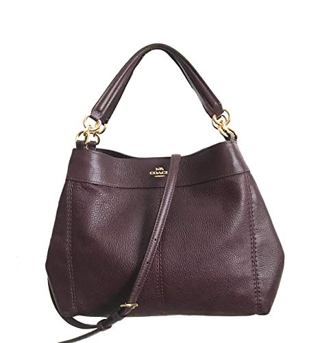 Coach Pebbled Leather Small Lexy Shoulder Bag Handbag (Raspberry) (Coach Bags Authentic)