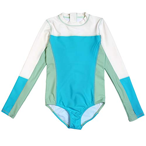 SURF Suit - Girl Long Sleeve UPF 50+ Body Suit Swimsuit (1 Piece) (Turquoise, 8-10 Years)