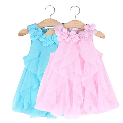 WZSYGDTC Baby Girls Party Dresses Summer Clothes for Infant Pageant Size 12M 1 Year (Blue,12M)