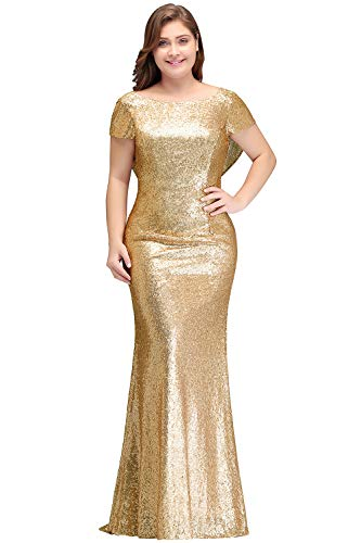 Boat Neck Open Back Mermaid Bridesmaid Dresses Sequins Wedding Party Gowns 14W ()
