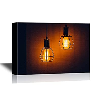 Canvas Wall Art - Glowing Light Bulbs at The Darkness - Gallery Wrap Modern Home Art | Ready to Hang - 12x18 inches