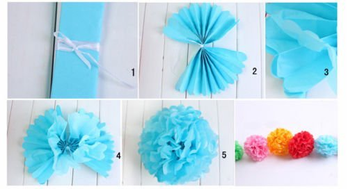 LingsFire® 10 Pack 10 Inch Tissue Paper Flower Ball Pom-poms For Party / Wedding / Home / Outdoor Decoration (Blue)