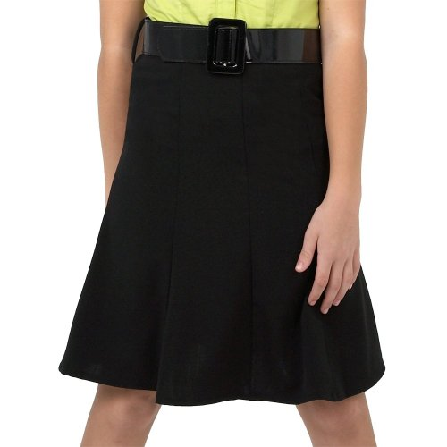 Amy Byer Big Girls' Knee Length, Gored Skirt With Patent Leather Belt,Black,7