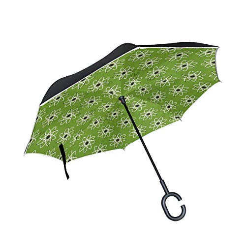 DOPKEEP Mod Geek Atoms Atmosphere Green Double Layer Inverted Umbrella Cars Reverse Umbrella,UV Protection Windproof Large Straight Umbrella for Car Rain Outdoor with C-Shaped Handle