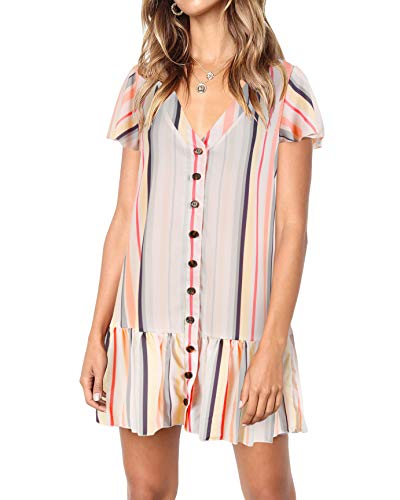Bbalizko Womens Cute V Neck Short Sleeve Buttion Down Loose Fit Ruffle Mini Dresses (X-Large, Picture Color) ()