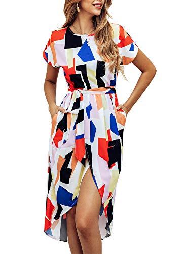 (KIRUNDO Women's Summer Casual Dress Round Neck Short Sleeves Strip Geometric Split Maxi Beach Dress with Belt (X-Large, Red))