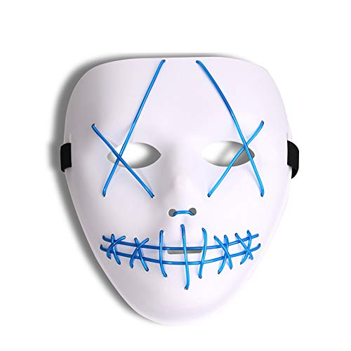 All Halloween Movie Masks (Halloween Light Up Mask Scary Cosplay Mask LED EL Wire Costume Mask for Festival Parties (with Color Box))