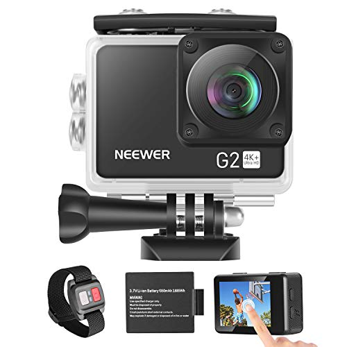 Neewer G2 4K WiFi Sports Action Camera with Touch Screen Ultra HD Waterproof DV Camcorder 12MP 4K/30FPS EIS 170 Degree Wide Angle WiFi Sports Cam with Remote/Battery and Mounting Accessories Kit