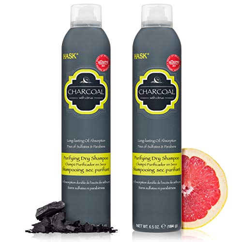 HASK Dry Shampoo Kits for all hair types, aluminum free, no sulfates, parabens, phthalates, gluten or artificial colors, Purifying Charcoal - Set of 2 Large 6.5oz Cans