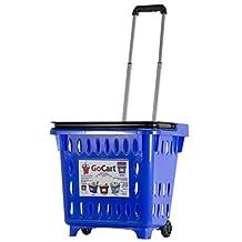 GoCart, Blue  Grocery Shopping Basket Rolling Laundry Cart