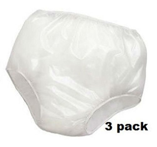 3PK Reliamed Adult Waterproof Soft Vinyl Plastic Pant Diaper Incontinent S-XXL (Adult Medium Fits 26''-34'' waist)