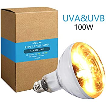AMZCOOL UVB and UVA Reptile Heat Lamp Bulb Truly Sun-Like Bright Heat for Reptiles, Amphibian and Birds (100 W)