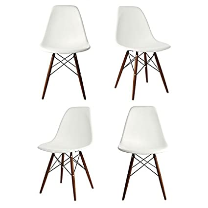 amazon com ariel dsw molded white plastic shell chair with dark
