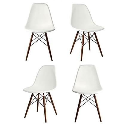 Ariel DSW Molded White Plastic Shell Chair With Dark Oak Eiffel Legs Set Of  4
