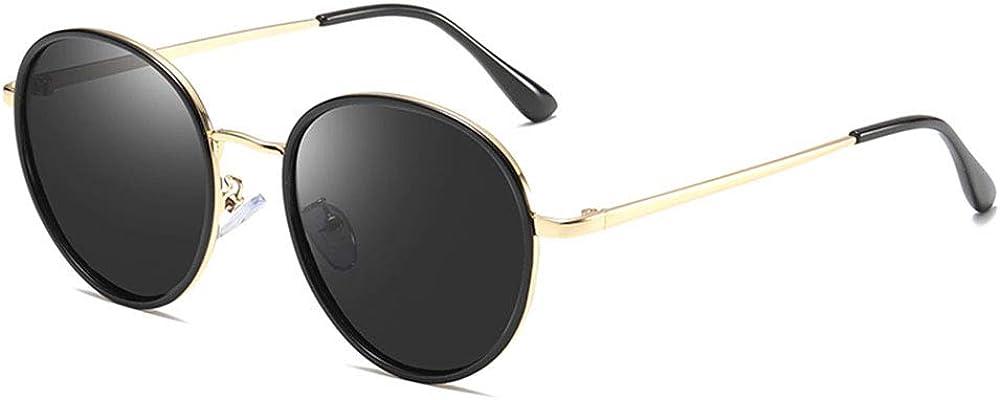 Double Bridge Round Polarized Sunglasses for Women Men Classic Oversized Metal Frame UV400 Protection,55MM