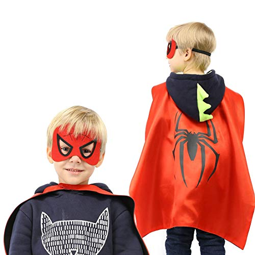 Satin Cape Glow mask for Kids Halloween Toy Party Gift Mask Cartoon Superhero Costume 5 Packs-Luminous Voice Toy Glove+Toy Transmitter