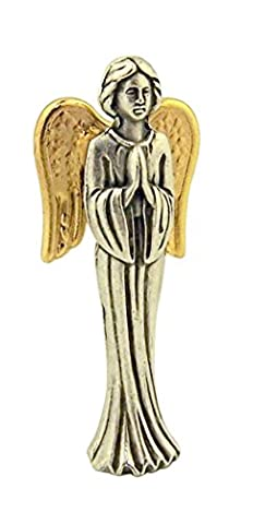 Silver Tone Guardian Angel of God Pocket Statue with Gold Stamped Prayer Card, 1 1/2 Inch - God Prayer Card