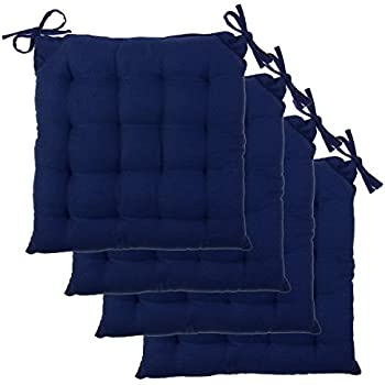 Amazon Com Set Of 4 Navy Blue Chair Cushions Pads Machine Washable By Ikea Home Amp Kitchen