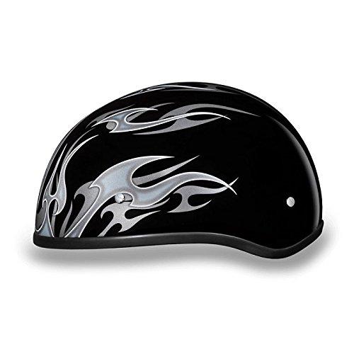DOT Silver Flames Motorcycle Half Helmet (Size S, SM, Small) (Silver Flame Half Helmet)