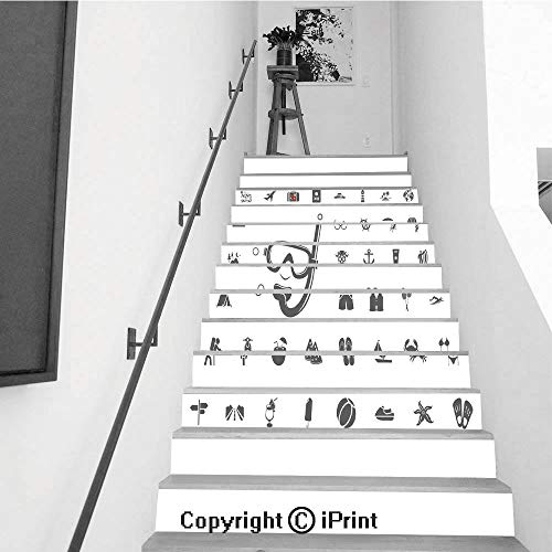 Stair Stickers Wall Stickers,13 PCS Self-Adhesive,Make Your Home Unique,Diving mask icon Summer Holidays and Traveling Vector Icons Set